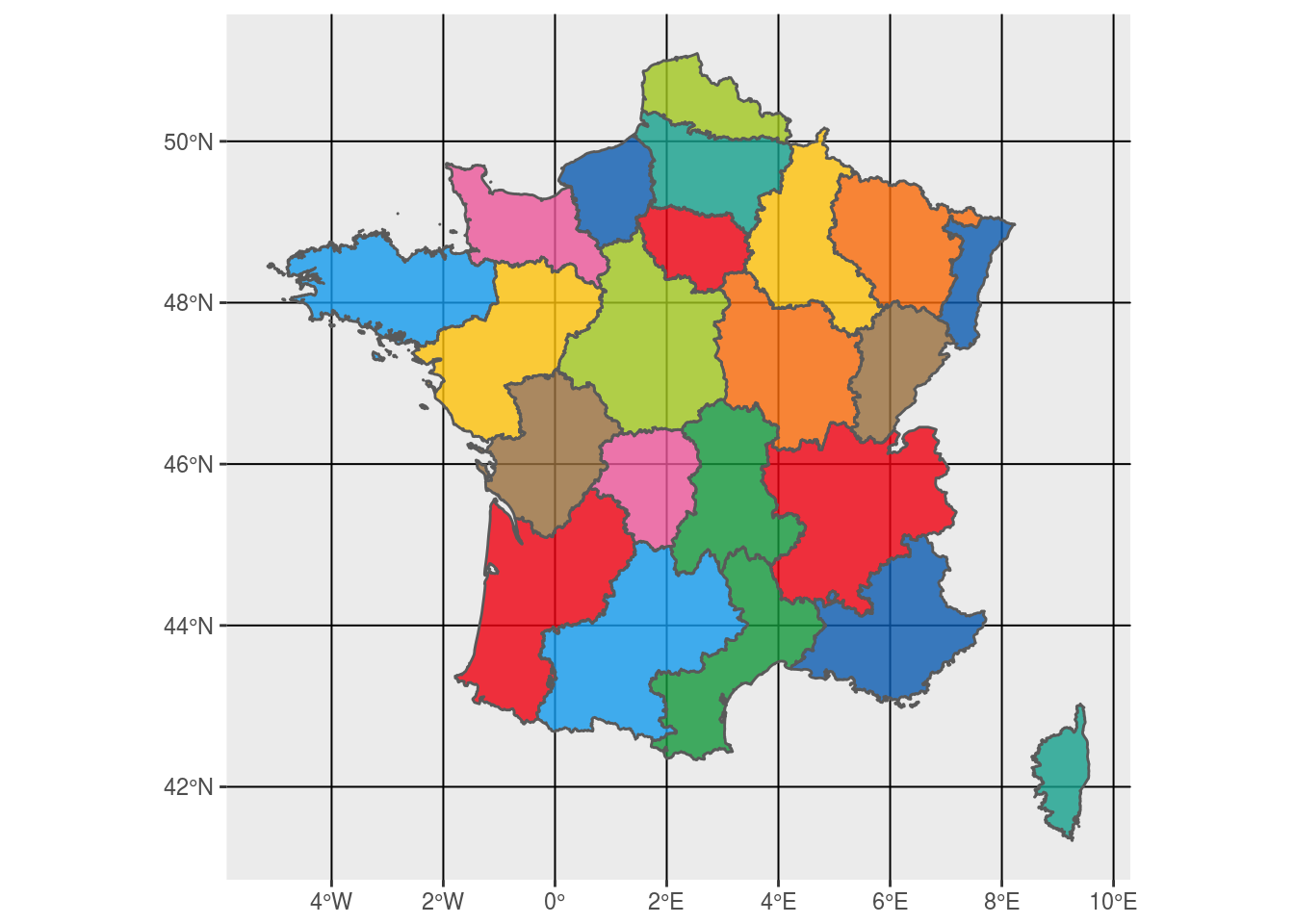 French regions colored using rstat and library sf