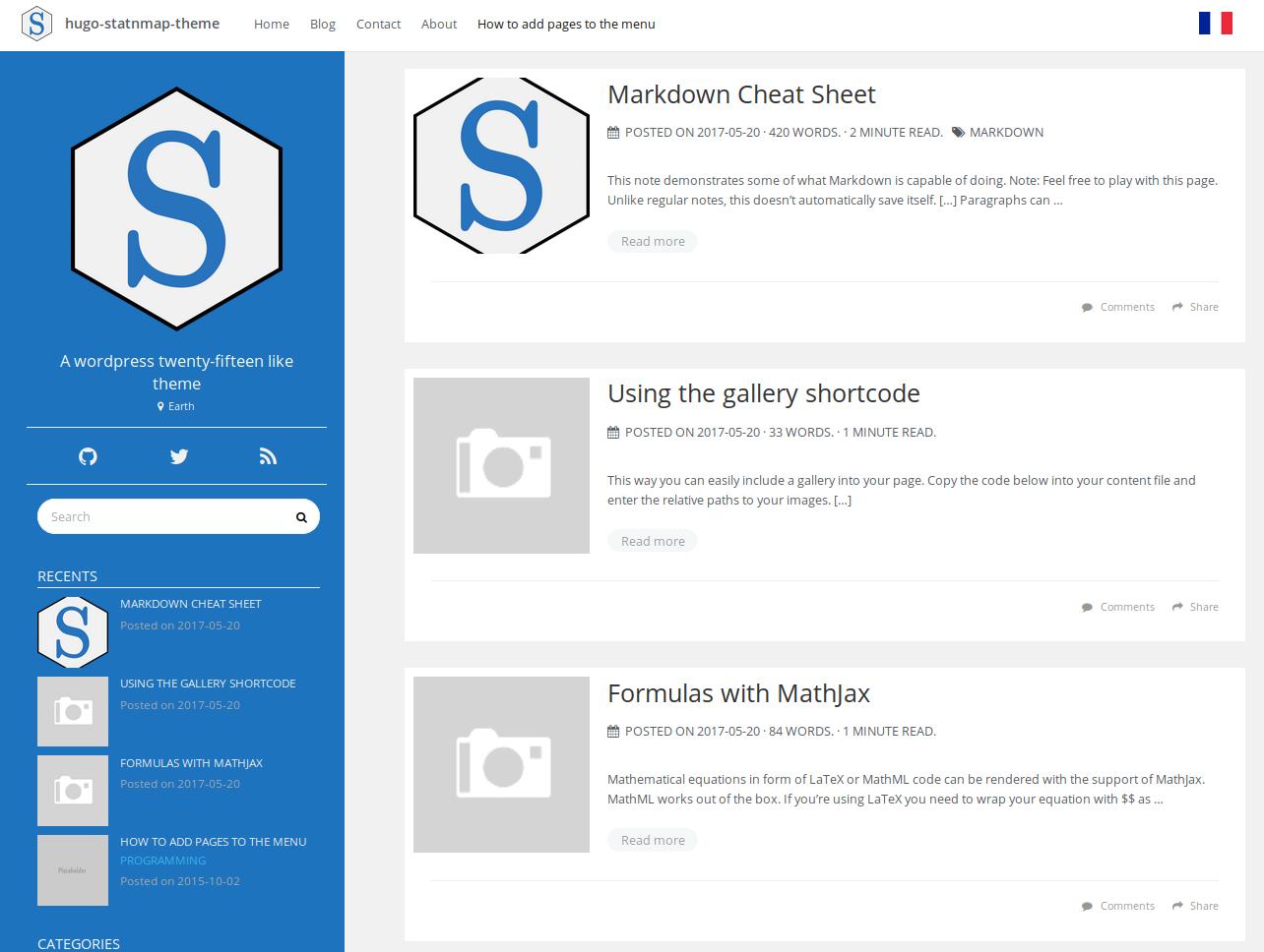 Blogdown Hugo themes to share scripts · StatnMap